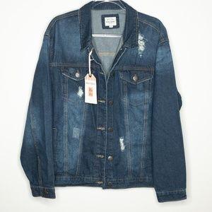 c4d0ab41e56 Wax Jean · Wax Jean Basic Denim Distressed Jacket
